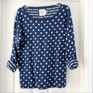 H&M Blue and White Polka Dot Sweater Size Large